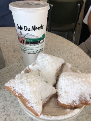 Enjoying beignets - the day before surgery